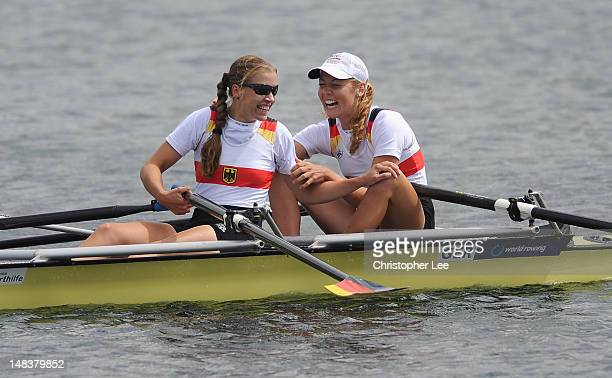 Nora Wessel and Wiebke Hein of Germany celebrate winning the Lightweight Women's Double Sculls Final during Day 5 of the 2012 FISA World Rowing U23...