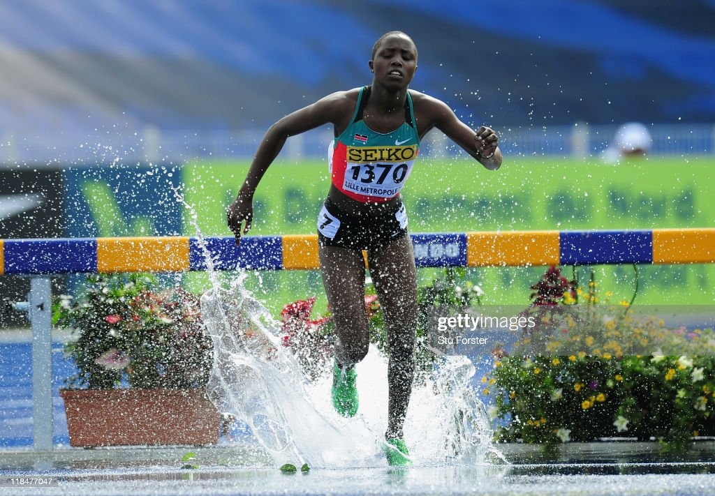 Norah Jeruto Tanui of Kenya leads the field in the Girls 2000 metres steeplechase heats during day three of the IAAF World Youth Championships at Lille Metropole stadium on July 8, 2011 in Lille, France.