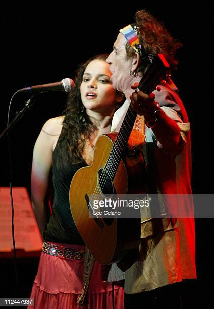 Norah Jones and Keith Richards during Return To Sin City A Tribute To Gram Parsons at Santa Barbara Bowl July 9 2004 at Santa Barbara Bowl in Santa...