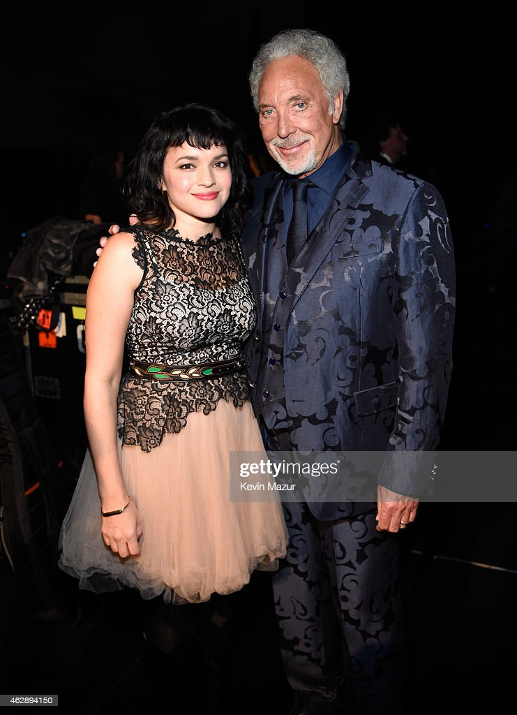 Norah Jones and Tom Jones attend the 25th anniversary MusiCares 2015 Person Of The Year Gala honoring Bob Dylan at the Los Angeles Convention Center on February 6, 2015 in Los Angeles, California. The annual benefit raises critical funds for MusiCares' Emergency Financial Assistance and Addiction Recovery programs. For more information visit musicares.org.