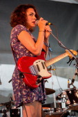 Norah Jones of Puss 'n Boots performs during the 2014 Newport Folk Festival at Fort Adams State Park on July 26 2014 in Newport Rhode Island