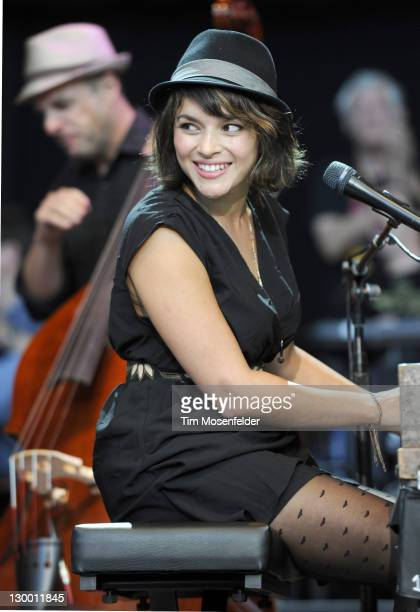 Norah Jones performs as part of the 25th Annual Bridge School Benefit Finale at Shoreline Amphitheatre on October 22 2011 in Mountain View California