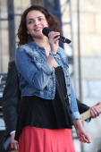 Norah Jones performs during the 2014 Newport Folk Festival at Fort Adams State Park on July 27 2014 in Newport Rhode Island