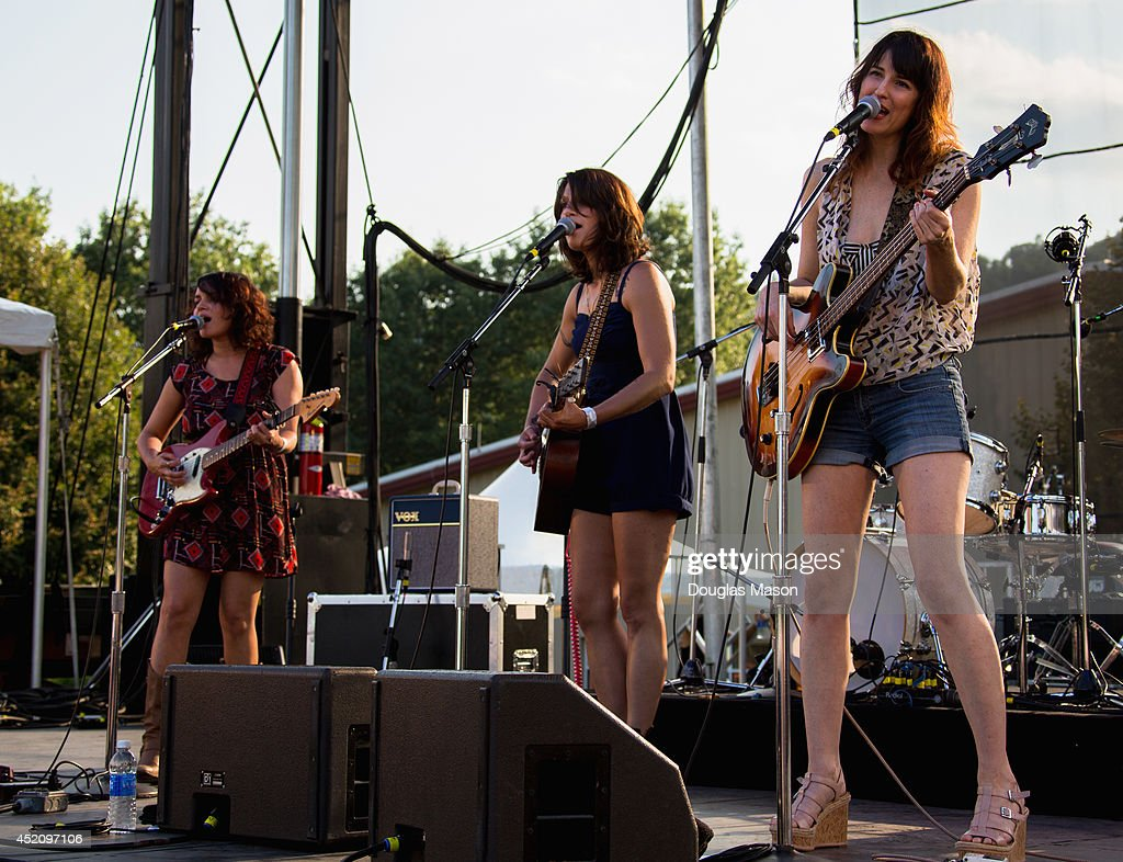 Norah Jones Sasha Dobson Catherine Popper of Puss' n' Boots perform during the 2014 Green River Festival at Greenfield Community College on July 12...