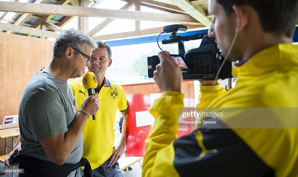 Norbert Dickel (BVB) and Boris Rupert of Borussia Dortmund on August 1, 2014 in Bad Ragaz, Switzerland.