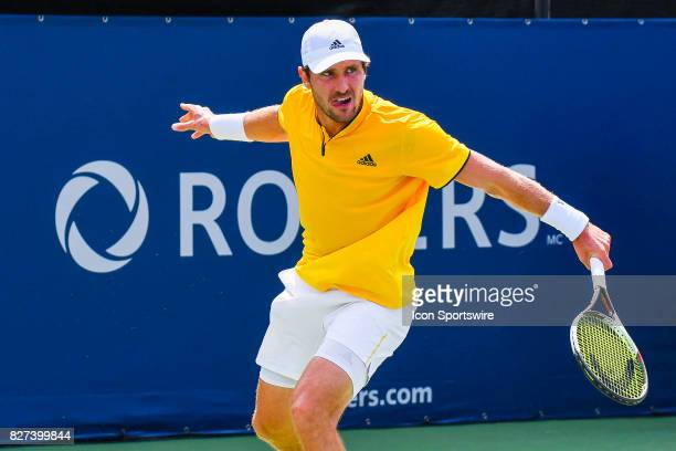 Norbert Gombos makes eye contact after returns the ball during his first round match at ATP Coupe Rogers on August 7 at Uniprix Stadium in Montreal QC