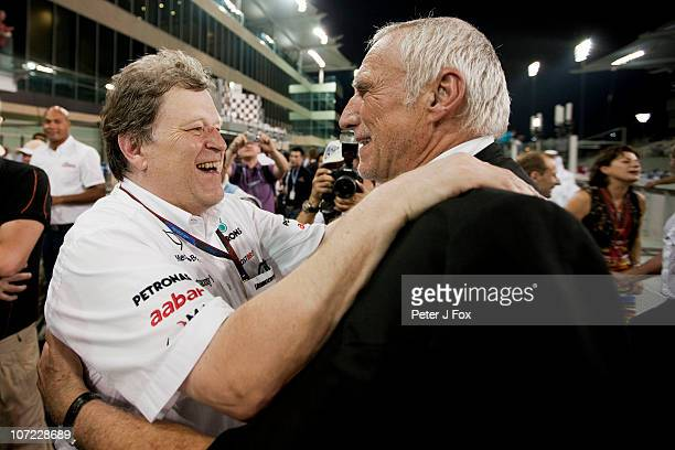 Norbert Haug of Mercedes and Germany and Dietrich Mateschitz of Red Bull and Austria during the Abu Dhabi Formula One Grand Prix at the Yas Marina...