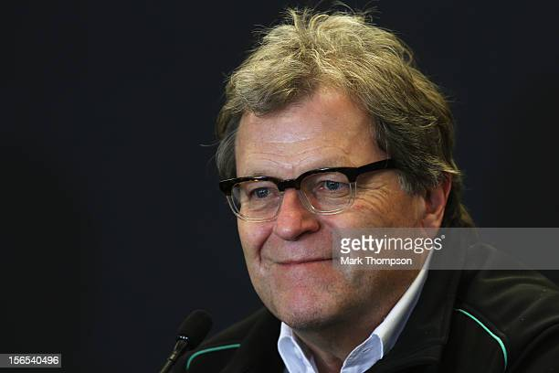 Norbert Haug of Mercedes attends the official press conference following practice for the United States Formula One Grand Prix at the Circuit of the...