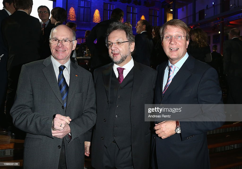 Norbert Lammert, Heribert Prantl and <a gi-track='captionPersonalityLinkClicked' href=/galleries/search?phrase=Ronald+Pofalla&family=editorial&specificpeople=657117 ng-click='$event.stopPropagation()'>Ronald Pofalla</a> attend the '8. Nacht der Sueddeutschen Zeitung' at Deutsche Telekom representative office on January 14, 2013 in Berlin, Germany.