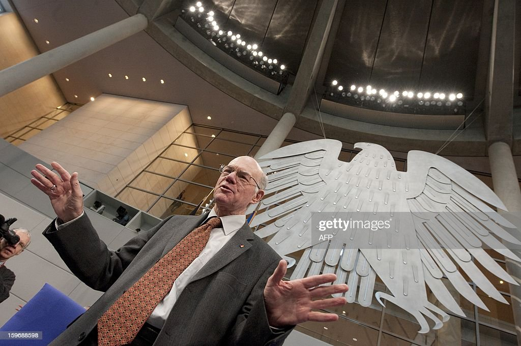 Norbert Lammert, president of the Bundestag (lower house of parliament), visits the plenary hall on January 18, 2013 in Berlin. Germany and France will be celebrating the 50th anniversary of the Elysee Treaty, among others with a common session of German and French delegates at the German Bundestag.