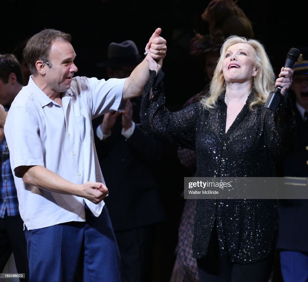 Norbert Leo Butz and Director Susan Stroman take a bow during the Curtain Call for the 'Big Fish' Broadway Opening Night at Neil Simon Theatre on October 6, 2013 in New York City.