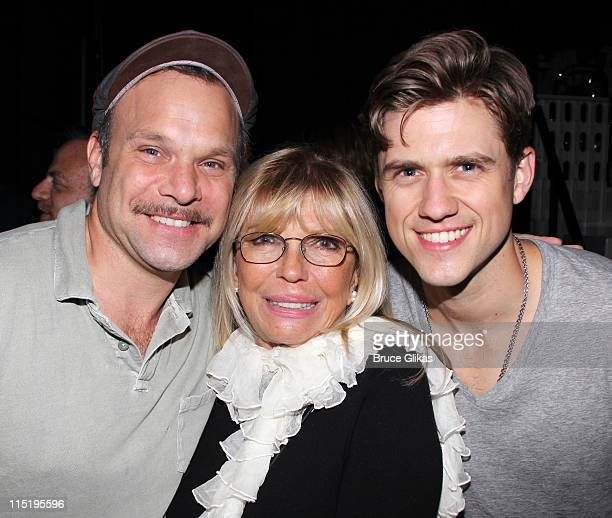 Norbert Leo Butz Nancy Sinatra and Aaron Tveit pose backstage at the hit musical 'Catch Me If You Can' on Broadway at The Neil Simon Theater on June...