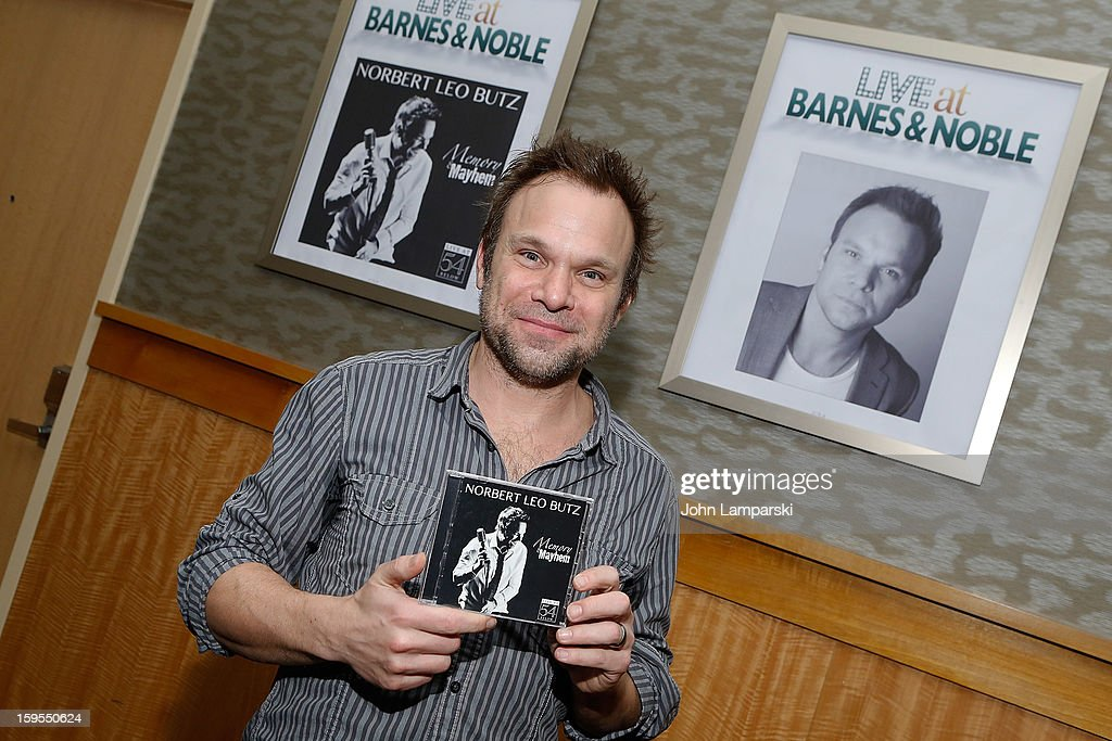 <a gi-track='captionPersonalityLinkClicked' href=/galleries/search?phrase=Norbert+Leo+Butz&family=editorial&specificpeople=206859 ng-click='$event.stopPropagation()'>Norbert Leo Butz</a> promotes '<a gi-track='captionPersonalityLinkClicked' href=/galleries/search?phrase=Norbert+Leo+Butz&family=editorial&specificpeople=206859 ng-click='$event.stopPropagation()'>Norbert Leo Butz</a> Memory & Mayhem: Live at 54 BELOW' at Barnes & Noble, 86th & Lexington on January 15, 2013 in New York City.