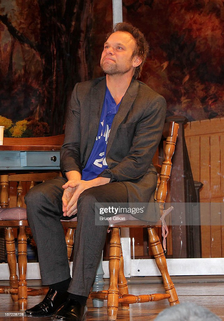 <a gi-track='captionPersonalityLinkClicked' href=/galleries/search?phrase=Norbert+Leo+Butz&family=editorial&specificpeople=206859 ng-click='$event.stopPropagation()'>Norbert Leo Butz</a> takes his curtain call on Opening Night of 'Dead Accounts' on Broadway at The Music Box Theatre on November 29, 2012 in New York City.