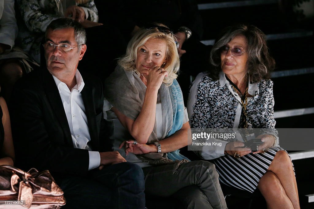 Norbert Medus, Sabine Christiansen and Angelika Blechschmidt attend the Schumacher Show during Mercedes-Benz Fashion Week Spring/Summer 2014 at Brandenburg Gate on July 4, 2013 in Berlin, Germany.