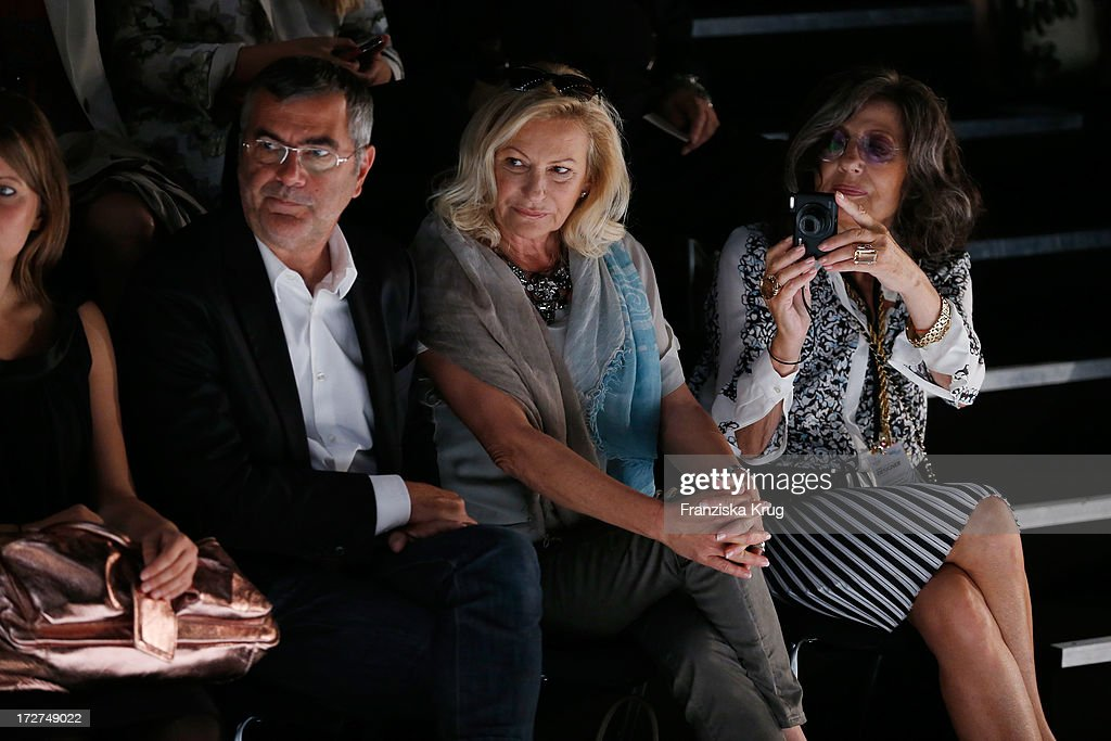 Norbert Medus, Sabine Christiansen and Angelika Blechschmidt attend the Schumacher Show during Mercedes-Benz Fashion Week Spring/Summer 2014 at Brandenburg Gate on July 4, 2013 in Berlin, Germany.