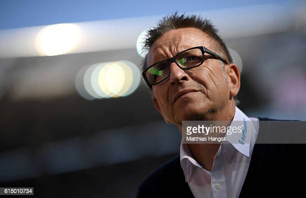 Norbert Meier head coach of Darmstadt looks on before the Bundesliga match between 1 FSV Mainz 05 and SV Darmstadt 98 at Opel Arena on October 16...