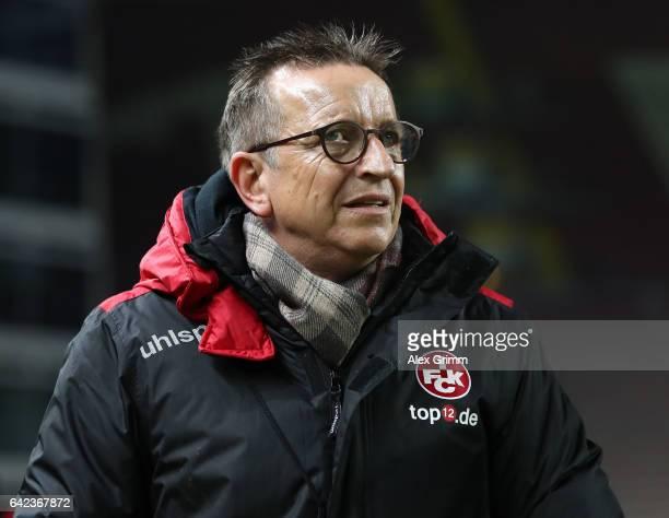 Norbert Meier head coach of Kaiserslautern looks on during the Second Bundesliga match between 1 FC Kaiserslautern and SV Sandhausen at...