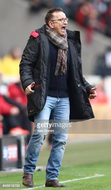 Norbert Meier head coach of Kaiserslautern reacts during the Second Bundesliga match between VfB Stuttgart and 1 FC Kaiserslautern at MercedesBenz...