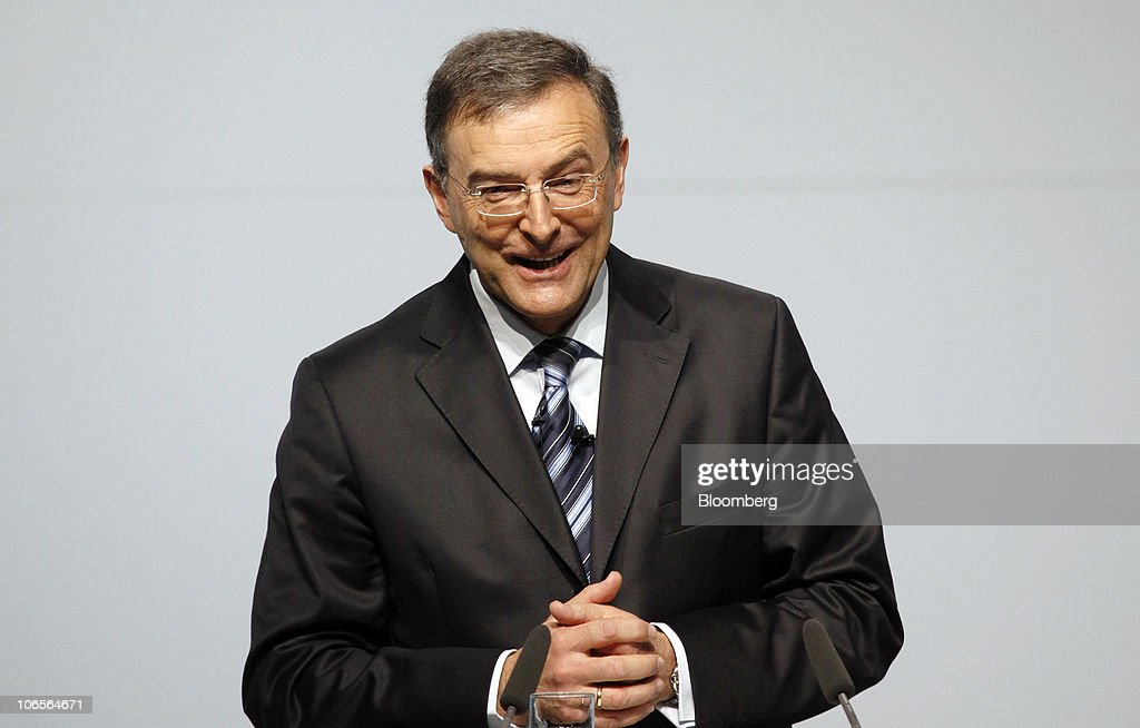 Norbert Reithofer chief executive officer of Bayerische Motoren Werke AG gestures during the opening ceremony of BMW's expanded auto plant in Leipzig...