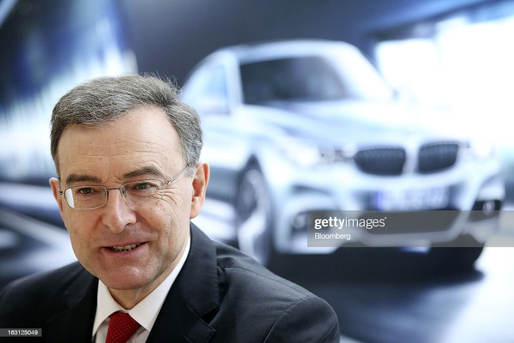 Norbert Reithofer, chief executive officer of Bayerische Motoren Werke AG (BMW), pauses during a media interview on the first day of the 83rd Geneva International Motor Show in Geneva, Switzerland, on Tuesday, March 5, 2013. This year's show opens to the public on Mar. 7, and is set to feature more than 100 product premiers from the world's automobile manufacturers. Photographer: Chris Ratcliffe/Bloomberg via Getty Images