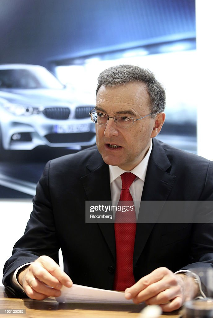 Norbert Reithofer chief executive officer of Bayerische Motoren Werke AG speaks during a media interview on the first day of the 83rd Geneva...