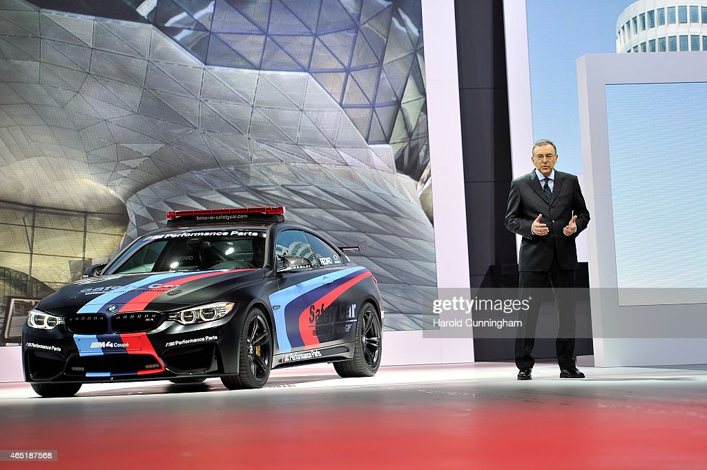 Norbert Reithofer presents the new BMW M4 MotoGP Safety Car during the 85th International Motor Show on March 3, 2015 in Geneva, Switzerland. The 85th International Motor Show held from the 5th to 15th March 2015 will showcase novelties of the car industry.