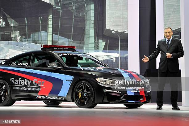 Norbert Reithofer presents the new BMW M4 MotoGP Safety Car during the 85th International Motor Show on March 3 2015 in Geneva Switzerland The 85th...