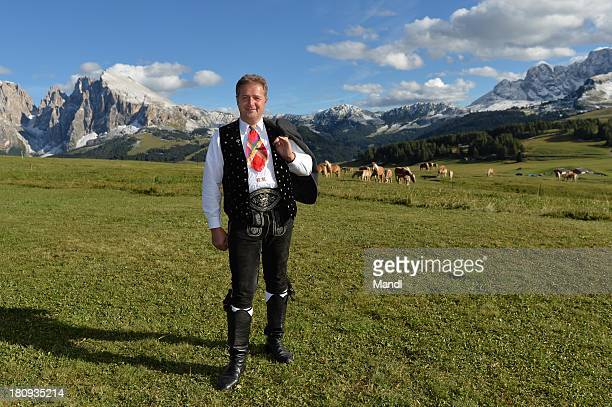 Norbert Rier lead singer of the band Kastelruther Spatzen poses for media after the recording of the TV Show 'ZDF Fernsehgarten' at Seiser Alm on...