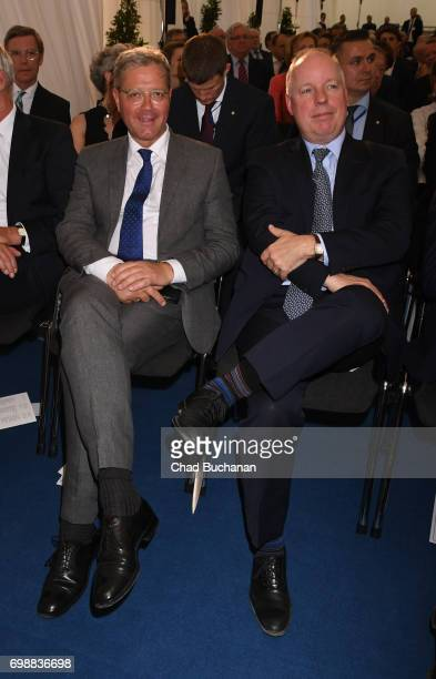 Norbert Roettgen and Deputy Chief of Mission at the US Embassy in Berlin Kent Logsdon seen during the 2017 Henry A Kissinger Prize at the American...
