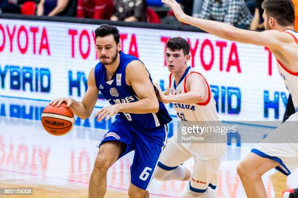Norbert Steff and Georges Darwiche during the LNBM Men's National Basketball League game between CSM Steaua Bucharest and BC Mures TarguMures at Sala...