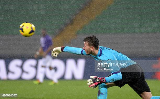 Norberto Murara Neto goalkeeper of ACF Fiorentina catches the ball during the TIM Cup match between Udinese Calcio and ACF Fiorentina at Stadio...