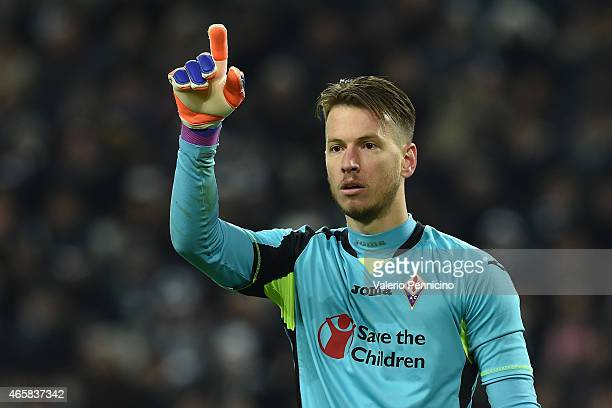 Norberto Murara Neto of ACF Fiorentina gestrures during the TIM Cup match between Juventus FC and ACF Fiorentina at Juventus Arena on March 5 2015 in...