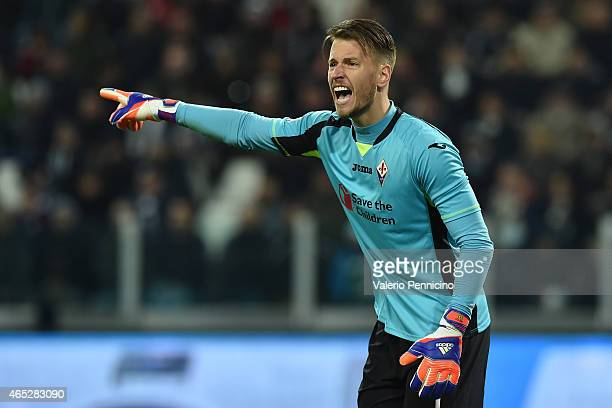Norberto Murara Neto of ACF Fiorentina reacts during the TIM Cup match between Juventus FC and ACF Fiorentina at Juventus Arena on March 5 2015 in...