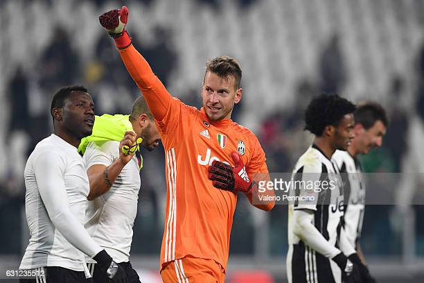 Norberto Murara Neto of Juventus FC celebrates victory at the end of the Serie A match between Juventus FC and Bologna FC at Juventus Stadium on...