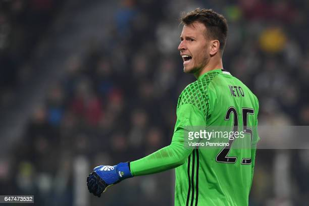 Norberto Murara Neto of Juventus FC reacts during the TIM Cup match between Juventus FC and SSC Napoli at Juventus Arena on February 28 2017 in Turin...