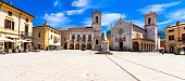 beautiful square of Norcia with famous church, (nowdays destroyed with earthquake 2016 )
