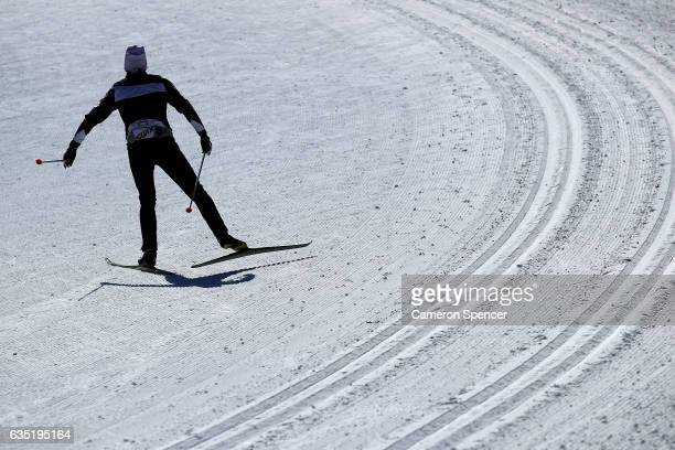 A nordic athlete trains at the Alpensia CrossCountry Centre on February 14 2017 in Pyeongchanggun South Korea