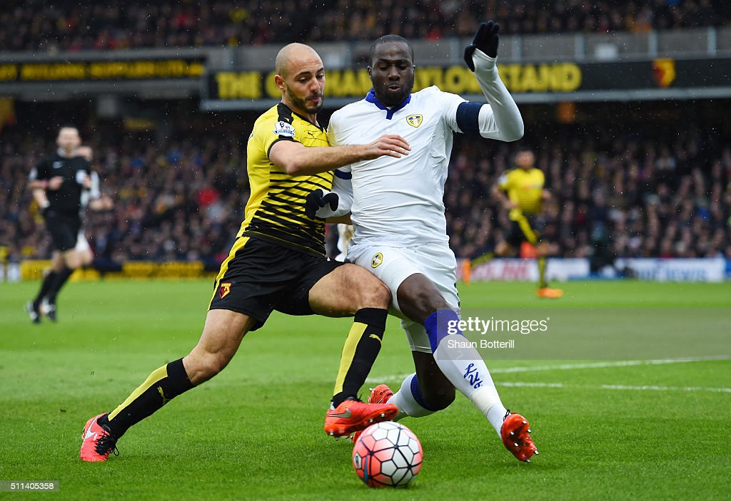 Nordin Amrabat of Watford and Souleymane Bamba of Leeds United compete for the ball during the Emirates FA Cup fifth round match between Watford and...