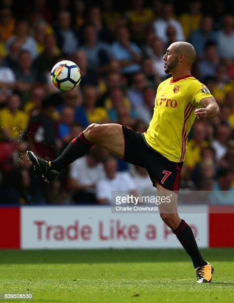 Nordin Amrabat of Watford controls the ball during the Premier League match between Watford and Brighton and Hove Albion at Vicarage Road on August...