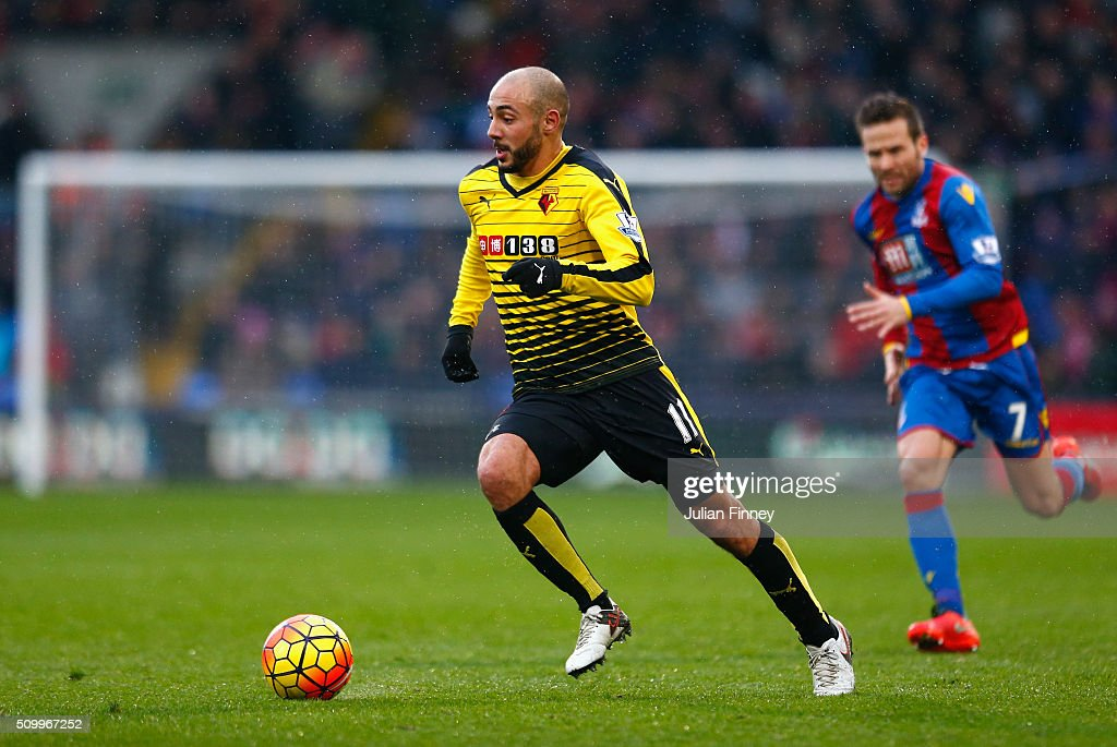 Nordin Amrabat of Watford in action during the Barclays Premier League match between Crystal Palace and Watford at Selhurst Park on February 13, 2016 in London, England.
