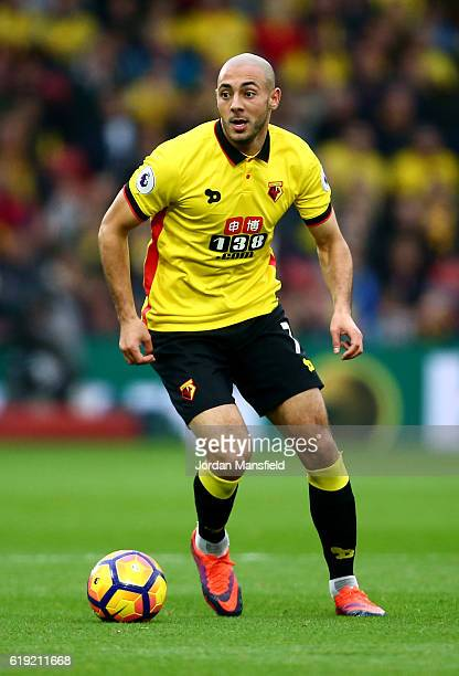 Nordin Amrabat of Watford in action during the Premier League match between Watford and Hull City at Vicarage Road on October 29 2016 in Watford...
