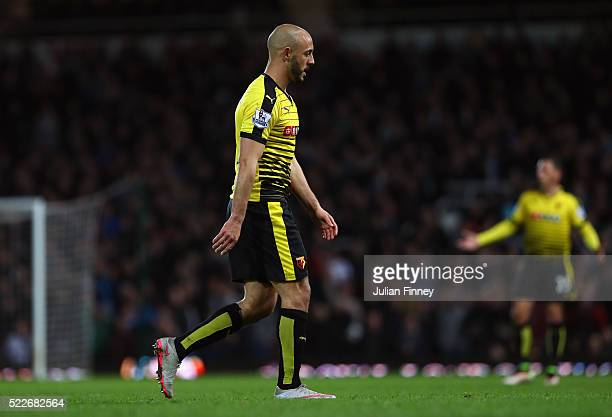 Nordin Amrabat of Watford leaves the field after recieving a red card during the Barclays Premier League match between West Ham United and Watford at...