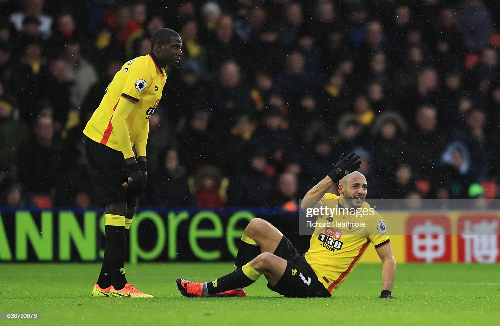 Nordin Amrabat of Watford reacts as he is injured alongside Abdoulaye Doucoure of Watford during the Premier League match between Watford and Tottenham Hotspur at Vicarage Road on January 1, 2017 in Watford, England.