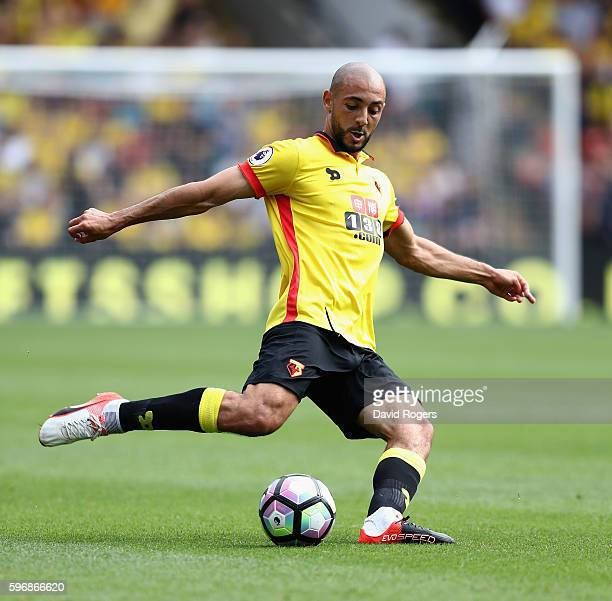 Nordin Amrabat of Watford runs with the ball during the Premier League match between Watford and Arsenal at Vicarage Road on August 27 2016 in...