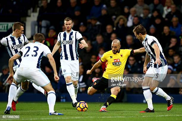 Nordin Amrabat of Watford shoots at goal during the Premier League match between West Bromwich Albion and Watford at The Hawthorns on December 3 2016...
