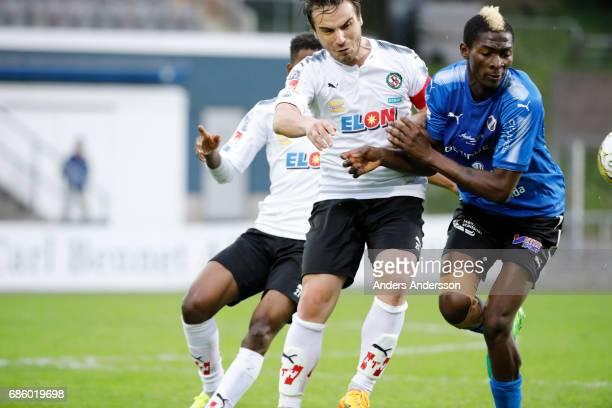 Nordin Gerzic of Orebro SK and Aboubakar Keita of Halmstad BK competes for the ball during the Allsvenskan match between Halmstad BK and Orebro SK at...