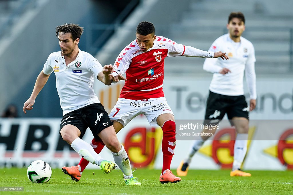 Nordin Gerzic of Orebro SK and Ismael Silva Lima of Kalmar FF competes for the ball during the Allsvenskan match between Kalmar FF and Orebro SK at Guldfageln Arena on May 2, 2016 in Kalmar, Sweden.