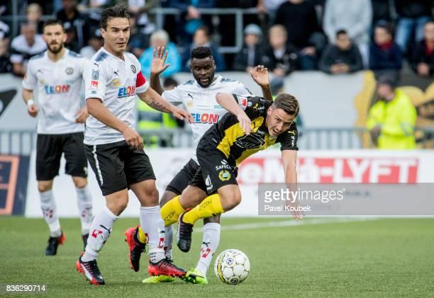 Nordin Gerzic of Orebro SK Jeppe Andrup Andersen of Hammarby IF during the Allsvenskan match between Orebro SK and Hammarby IF at Behrn Arena on...