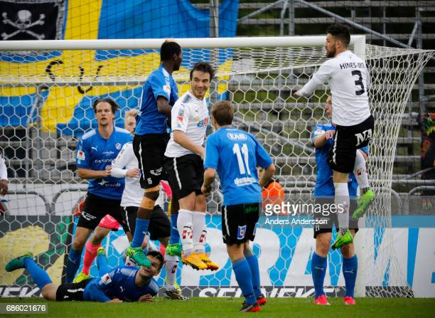 Nordin Gerzic smiles and jumps for a header during the Allsvenskan match between Halmstad BK and Orebro SK at Orjans Vall on May 20 2017 in Halmstad...